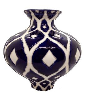 Other - Navy Blue and White Vase
